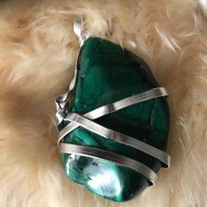 Hand wrapped Malachite stone